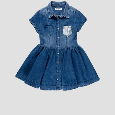 Denim dress with collar- REPLAY&SONS SG3197_050_165_001_1