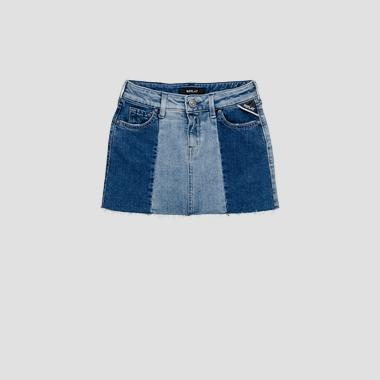 Gonna in denim colorblock- REPLAY&SONS SG4055_050_1026570_001_1