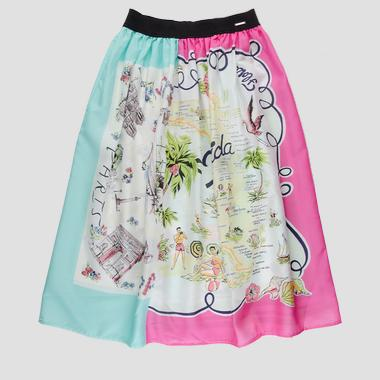 Skirt with map print- REPLAY&SONS SG4703_055_83630KL_010_1