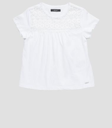 Girls' T-shirt with embroidered yoke- REPLAY&SONS SG7448_050_20512_001_1