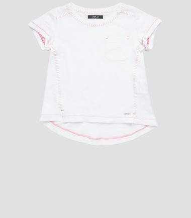 Girls' T-shirt with decorative stitching- REPLAY&SONS SG7449_050_20760_001_1
