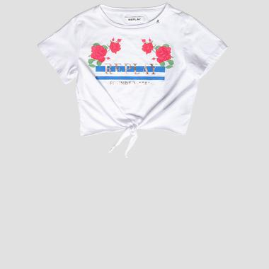 Crop t-shirt with knot and print- REPLAY&SONS SG7496_050_20994_001_1