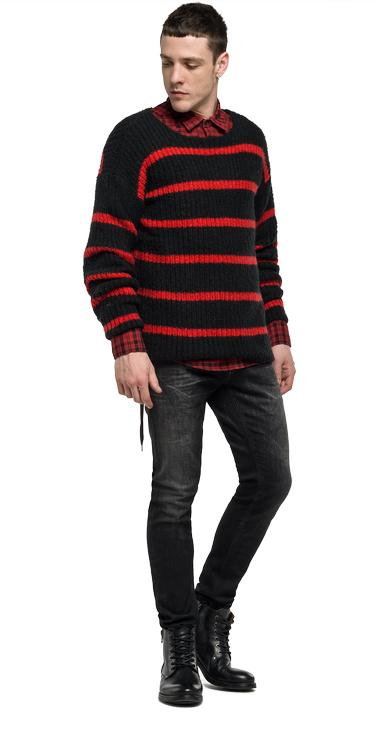 Felted striped jumper - Replay UK1627_000_G22236_020_1