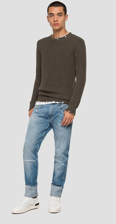 Crewneck sweater with breakages - Replay UK2652_000_G22454G_234_1