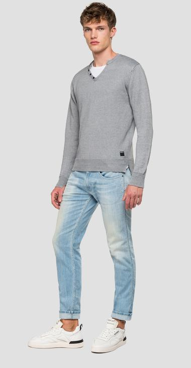 Linen sweater with V opening - Replay UK2669_000_G22082B_M06_1