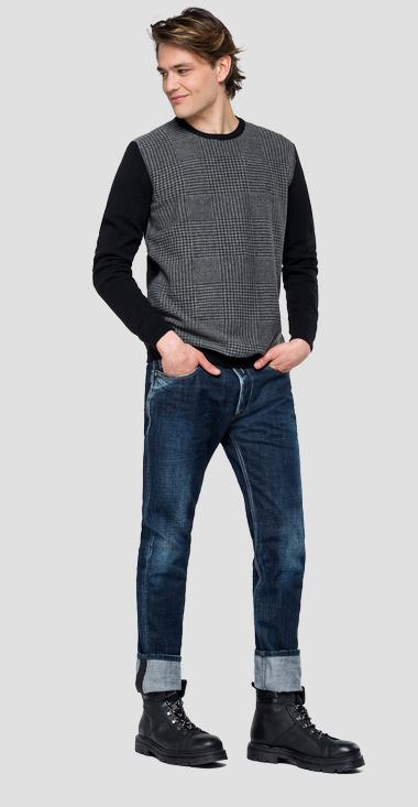 Sweater with checked insert - Replay UK3075_000_G22726_010_1