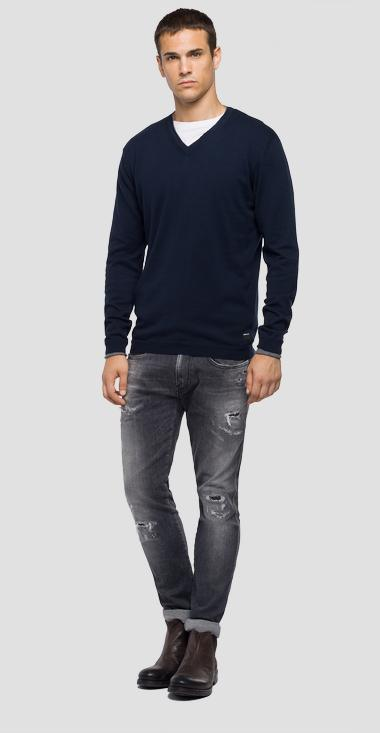 V-neck cotton and wool sweater - Replay UK4051_000_G20990_500_1
