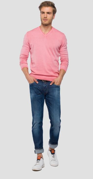 V-neck sweater faded effect - Replay UK4101_000_G20784A_753_1