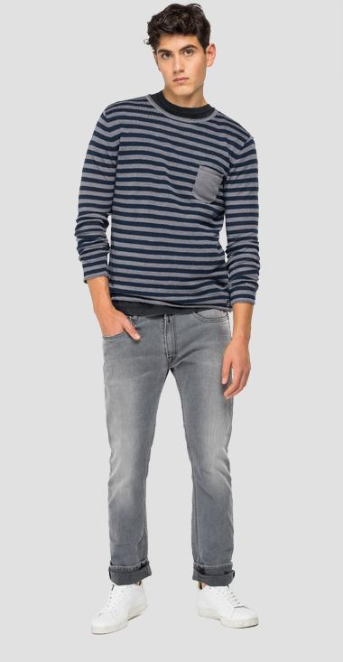 Striped sweater in linen - Replay UK8254_000_G23024_010_1
