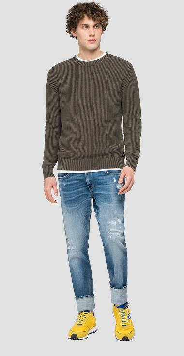 Crewneck pullover with crinkled effect - Replay UK8257_000_G22454G_234_1