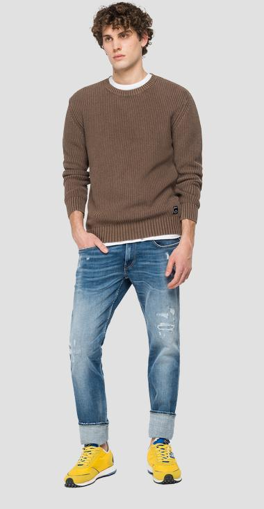Crewneck pullover with crinkled effect - Replay UK8257_000_G22454G_569_1