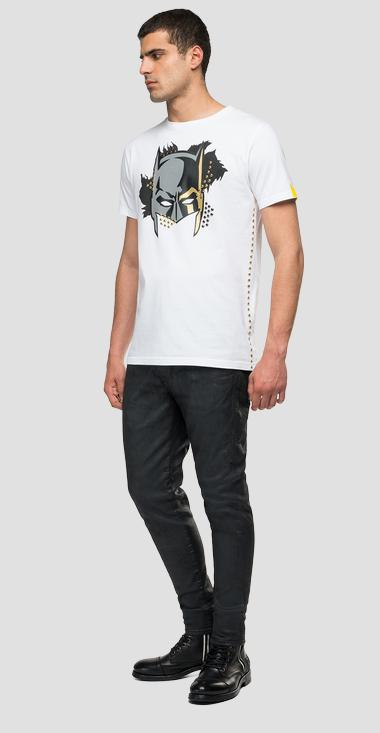 T-shirt with studs and REPLAY TRIBUTE LIMITED EDITION BATMAN E JOKER metallic print - Replay UX3003_000_22880_001_1