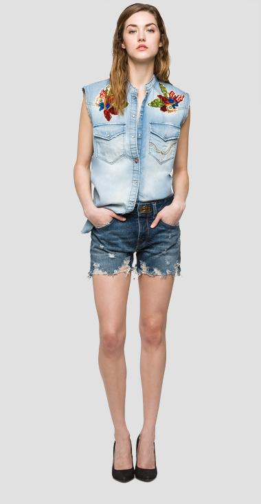 We are Replay denim sleeveless shirt - We are Replay VD4391_000_V20AG95_001_1