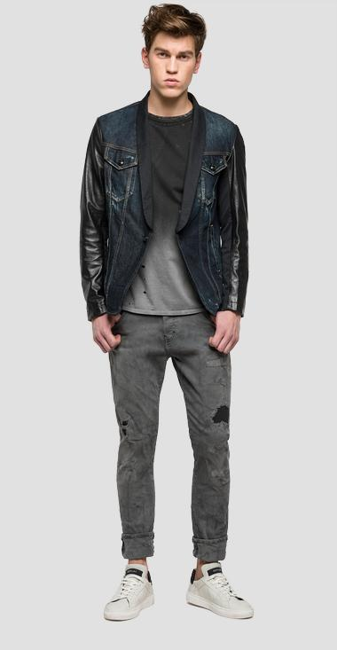 We are Replay denim and leather jacket - We are Replay VU3803_000_V10191_010_1