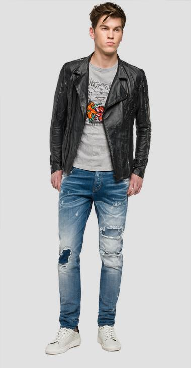 We are Replay distressed biker jacket - We are Replay VU3806_000_V82812_098_1