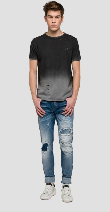 We are Replay distressed T-shirt - We are Replay VU7965_000_V21384F_010_1