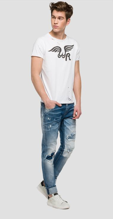 We are Replay printed and ripped T-shirt - We are Replay VU7969_000_V21384H_001_1