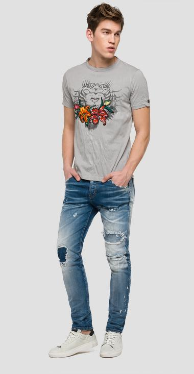 We are Replay printed T-shirt with patches - We are Replay VU7970_000_V21384T_605_1