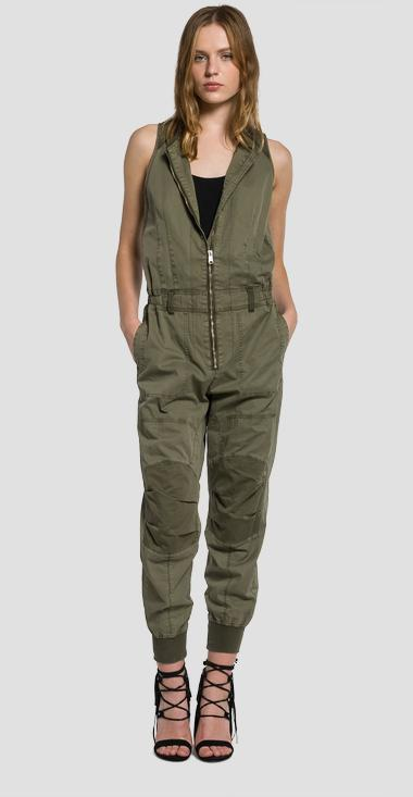 Zip-front cotton twill jumpsuit - Replay W1014_000_82726_574_1