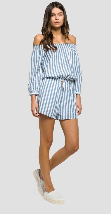 Striped cotton and linen playsuit - Replay W1019_000_51904_010_1