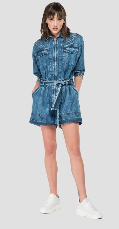 Overalls denim dress with belt and zipper - Replay W1049_000_460-801_010_1