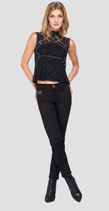 Viscose cami top with embroidery and studs - Replay W2020_000_83898_098_1