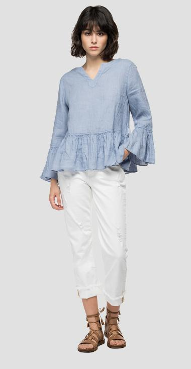 Essential linen shirt with frills - Replay W2047_000_84076G_781_1