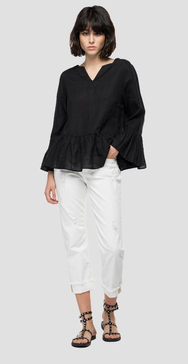 Essential linen shirt with frills - Replay W2047_000_84076G_998_1