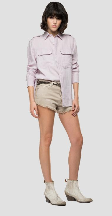 Essential boy fit shirt in linen - Replay W2048A_000_84076G_513_1