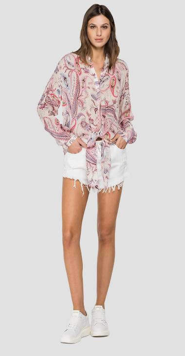 Comfort fit shirt with all-over paisley print - Replay W2050_000_72276_010_1