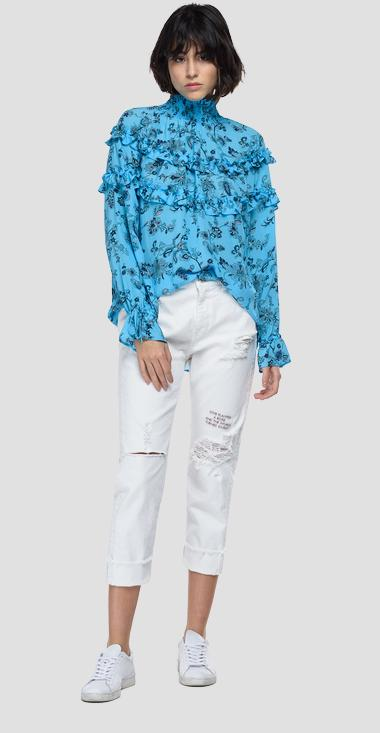 Chiffon shirt with all-over print - Replay W2063_000_73500_010_1