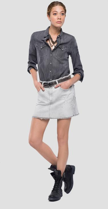 Denim and ecological fabric shirt - Replay W2240_000_106-415_009_1
