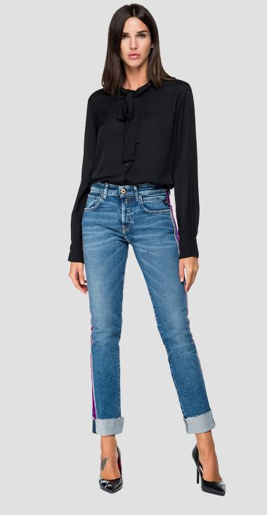 Blouse with ribbon at the collar - Replay W2246_000_83188_098_1