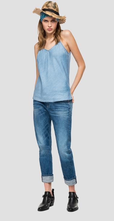 Top in denim scollo a V - Replay W2264_000_54C-673_009_1