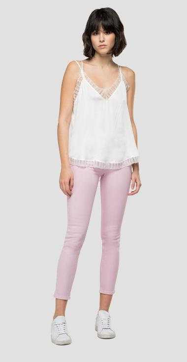 Viscose cami top with thin shoulder straps - Replay W2278A_000_83634I_011_1