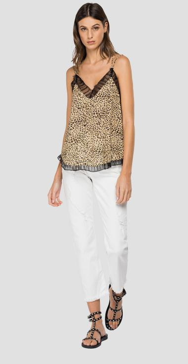 Viscose cami top with animalier print - Replay W2278B_000_73376_010_1