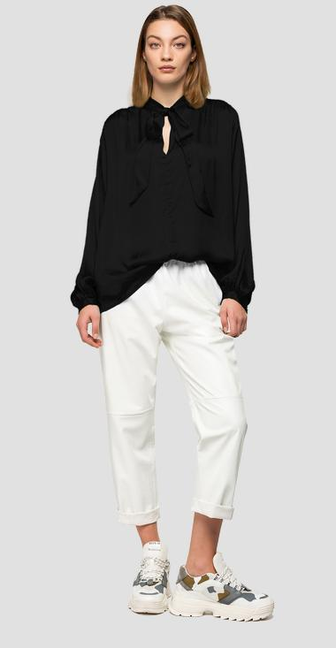 Viscose satin blouse - Replay W2301_000_83634_098_1
