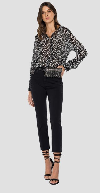 Georgette shirt with all-over print - Replay W2323A_000_72324_010_1
