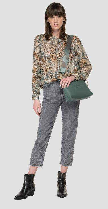 Georgette shirt with all-over print - Replay W2323B_000_73490_010_1