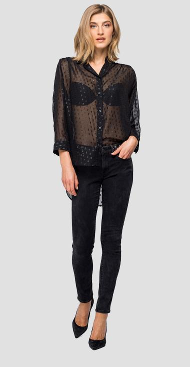 Chemise en georgette à pois en lurex - Replay W2336_000_83914_098_1