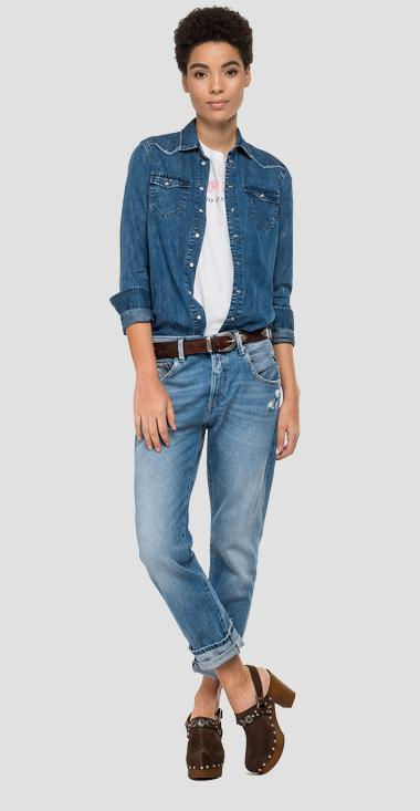 Shirt in fringed denim - Replay W2840C_000_160-694_009_1