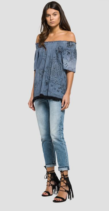 Fringe blouse with all-over print - Replay W2880_000_71172_030_1