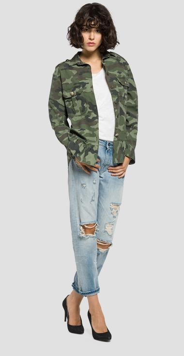 Camouflage stretch satin shirt - Replay W2929_000_70419_010_1