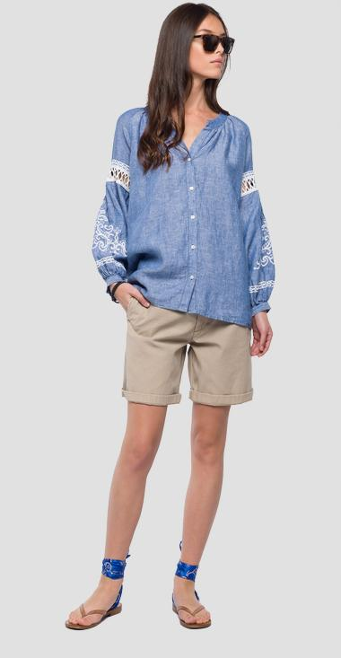 Crewneck blouse with embroideries - Replay W2995_000_52084_010_1