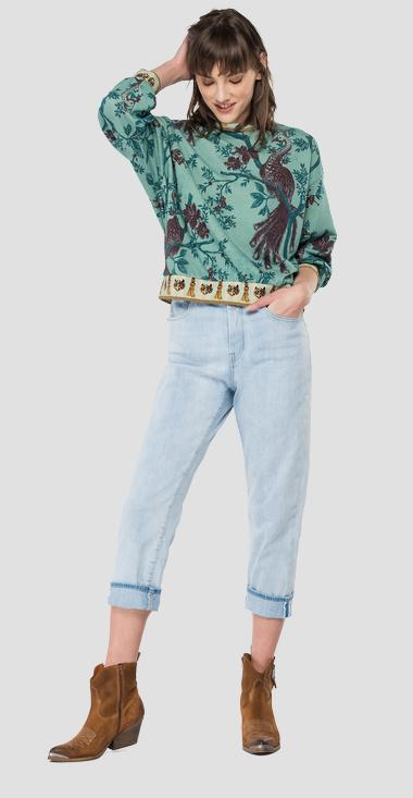 Crewneck sweatshirt with peacocks and flowers print - Replay W3114C_000_10283_010_1