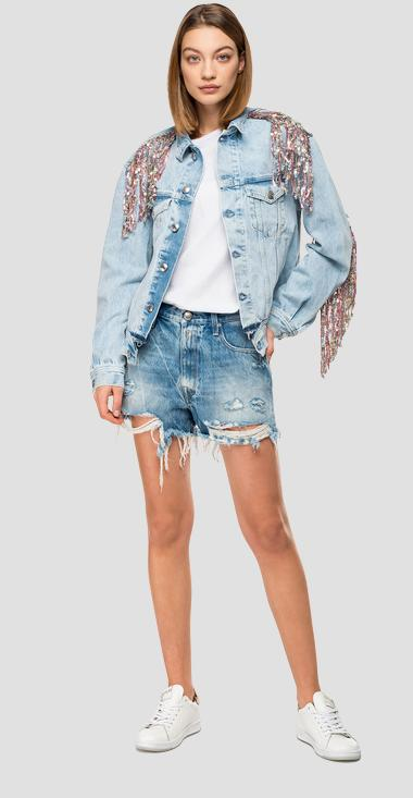 Jacket with fringes and sequins - Replay W311A_000_110665C_011_1