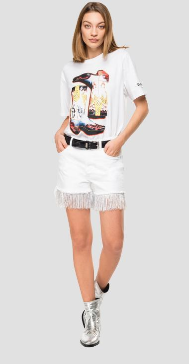 Printed t-shirt with rhinestones - Replay W3180G_000_20994_001_1