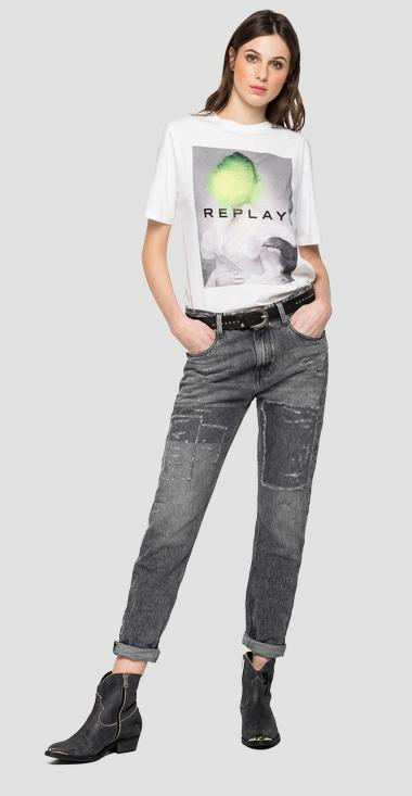 Crewneck t-shirt with photographic print - Replay W3180N_000_22832P_001_1
