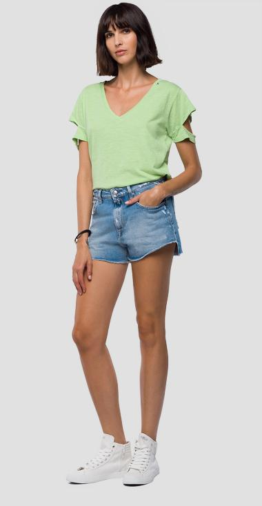 T-shirt with slits on the sleeves - Replay W3210_000_22676G_967_1
