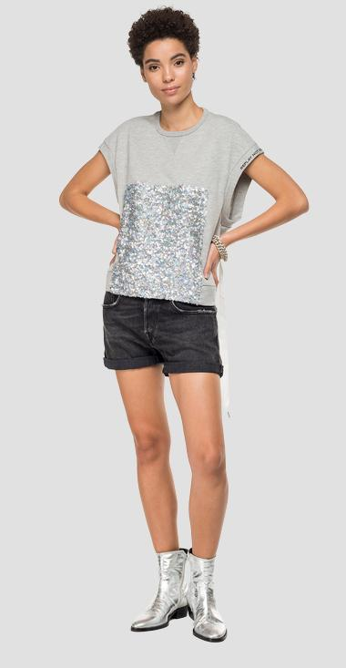 Sleeveless sweatshirt with sequins - Replay W3223_000_22390P_M10_1
